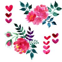 Conjunto de hermosas flores de acuarela