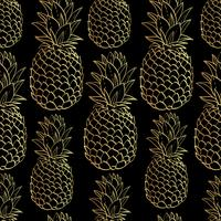 Exotic seamless pattern with silhouettes tropical fruit pineapples. vector