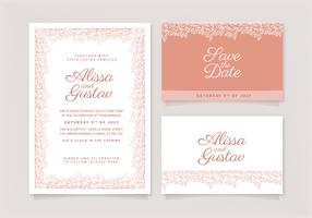Vector Rose Gold Wedding Invitation