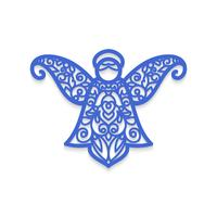 Christmas angel with pattern. Laser cutting template for greeting cards.