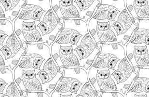 Big-eared owl. A seamless pattern in the handdrawn style.