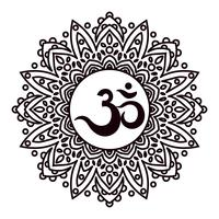 Om or Aum Indian sacred sound, original mantra, a word of power.