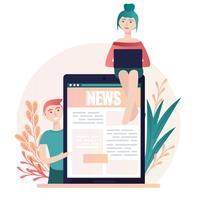 Illustrazione di notizie online vettoriale