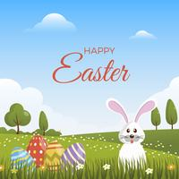 Flat Cute Easter Vector Background