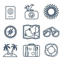 Icons of travel, summer in the flat line style vector