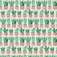 Vector Potted Plants Seamless Pattern