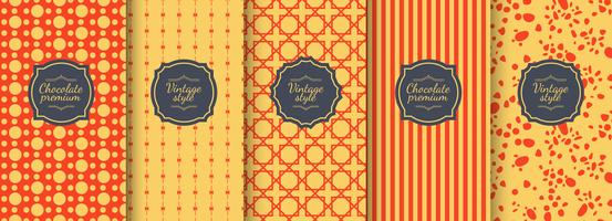 Set of red vintage seamless backgrounds for luxury packaging design.
