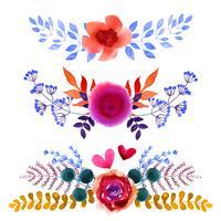 Set med vackra akvarellblommor