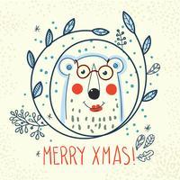 Oso polar inconformista dentro de una guirnalda de dibujado a mano.
