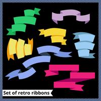 Set of retro and flat ribbons