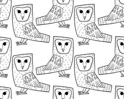 Barn owl. A seamless pattern in the handdrawn