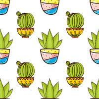 Seamless pattern of cacti and succulents in pots.
