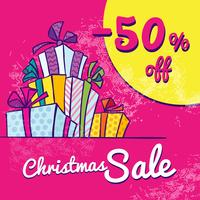 Bright Christmas sale banner with boxes of gifts