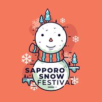 Vecteur, festival, neige, sapporo