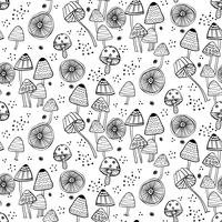 Seamless pattern with fantasy mushrooms.