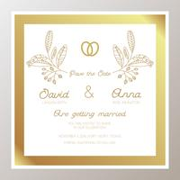 Romantic Wedding invitation with gold rings