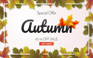 autumn sale template banner Vector background
