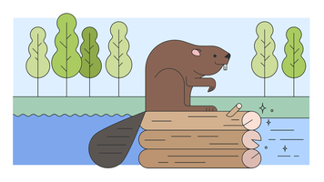 Beaver Working Vector