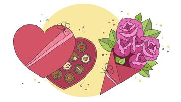Chocolates And Flowers Vector