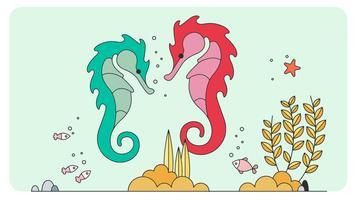 Vector de caballitos de mar