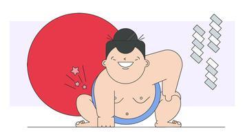 Vector de luchador de sumo