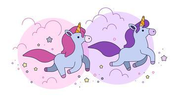 Vettore di unicorni spessi