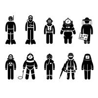 Scuba Diving Dive Deep Sea Spacesuit Biohazard Biodlare Kärnvapen Air Force SWAT Volcano Skyddsdräkt Gear Uniform Wear Stick Figur Pictogram Ikon.