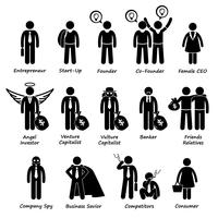 Emprendedor de negocios Inversores y competidores Stick Figure Pictogram Icon Cliparts.