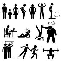 Thin Slim Skinny Weak Man Stick Figure Pictogram Icon.