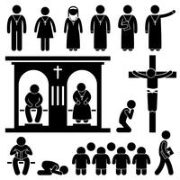 Christian Religion Culture Tradition Church Prayer Priest Pastor Nun Stick Figure Pictogram Icon.