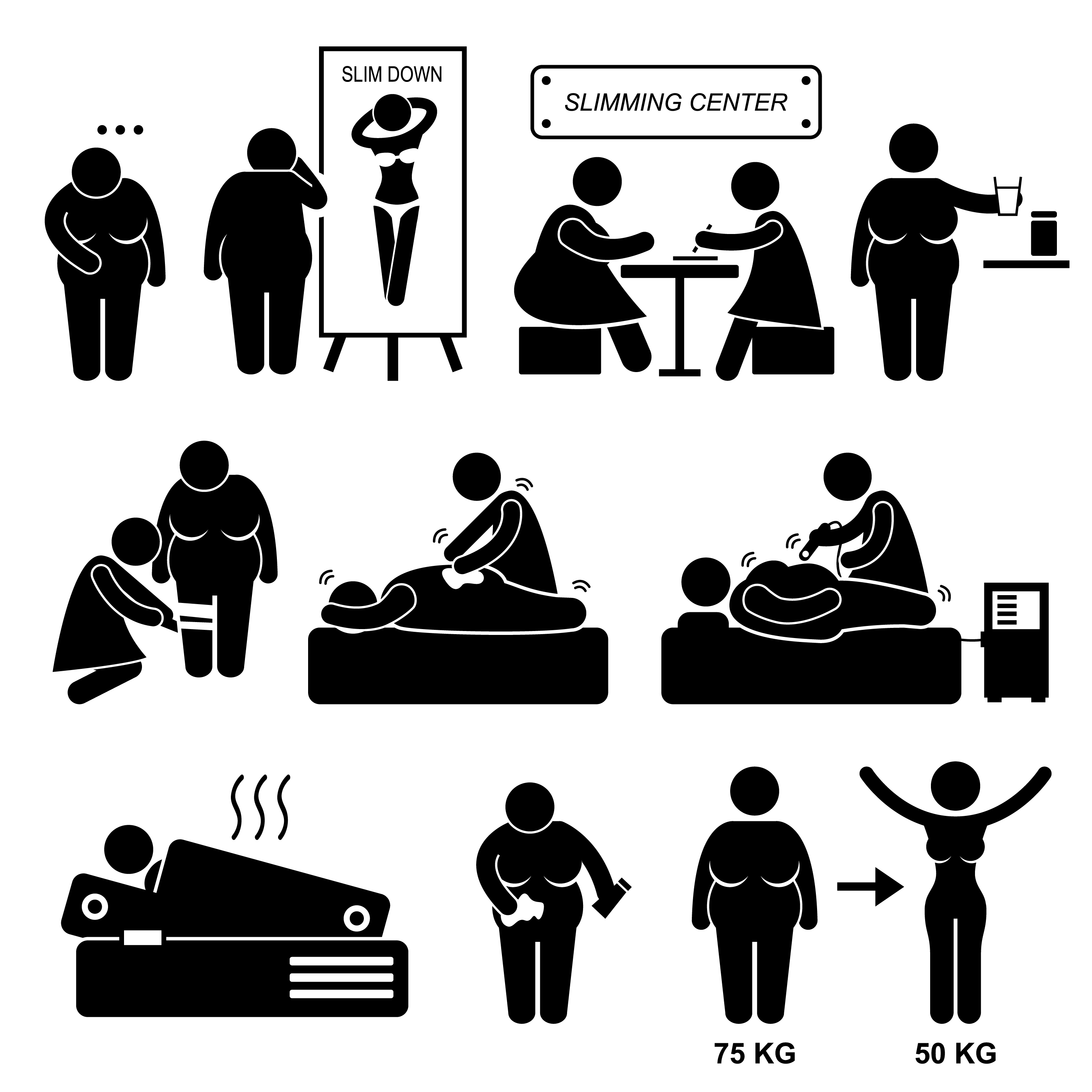 Slimming Center Fat Overweight Woman Treatment Beauty Spa Stick Figure Pictogram Icon Download Free Vectors Clipart Graphics Vector Art
