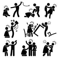 Abusive Husband Helpless Wife Stick Figure Pictogram Icon.