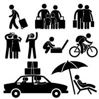 Familien-Paar-touristische Reise-Urlaubsreise-Feiertags-Flitterwochen-Ikonen-Symbol.