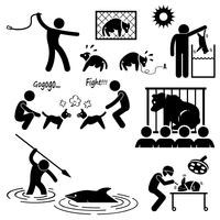 Animal Cruelty Abuse by Human Stick Figure Pictogram Icon.