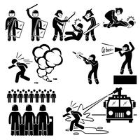 Riot Police Stick Figure Pictogram Icons.
