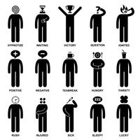 Man Emotion Feeling Expression Attitude Stick Figure Pictogram Icon. vector