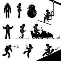 Winter Activity Chairlift Skiing Snowmobile Snow Fight Sledding.