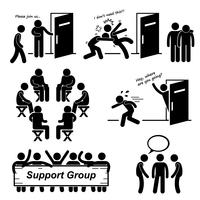 Support Group Meeting Stick Figure Pictogram Icons.