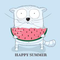 Cute kitty is a watermelon vector