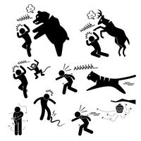 Wild Animal Attacking Hurting Human Stick Figur Pictogram Ikon.