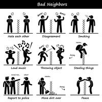 Bad Neighbors Stick Figur Pictogram Ikoner.