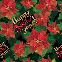 Vector seamless Christmas vintage style pattern with blooming poinsettia and hand lettering