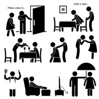Gentleman Courteous Man Boyfriend Husband Stick Figure Pictogram Icon.
