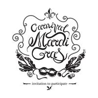 Máscara de carnaval dourada com penas. Ilustração vetorial, fundo bonito com mão desenhada lettering Madrid Gras para cartaz, cartão, convite para festa, banner