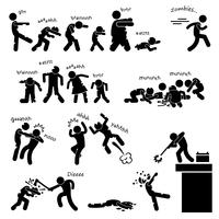 Zombie Undead Attack Apocalypse Survival Defesa Surto Stick Figure Pictogram Icon.