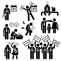 Worker Employee Income Salary Financial Problem Stick Figure Pictogram Icon Cliparts.