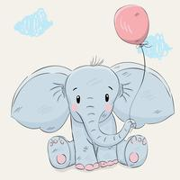 Cute little elephant hand drawn