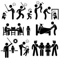 Family Abuse Children Hitting Confine Sexual Harassment Stick Figure Pictogram Icon.