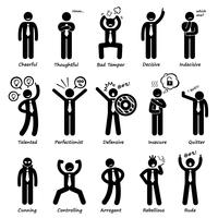 Businessman Attitude Personalities Characters Stick Figure Pictogram Icons.