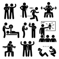 Personal Gym Coach Trainer Instructor Exercise Workout Stick Figure Pictogram Icons.